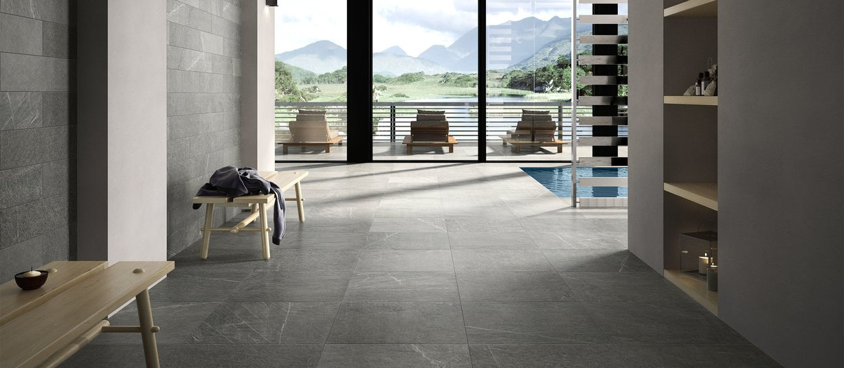 Shine stone Anthracite and Black tiles Modern style Living
