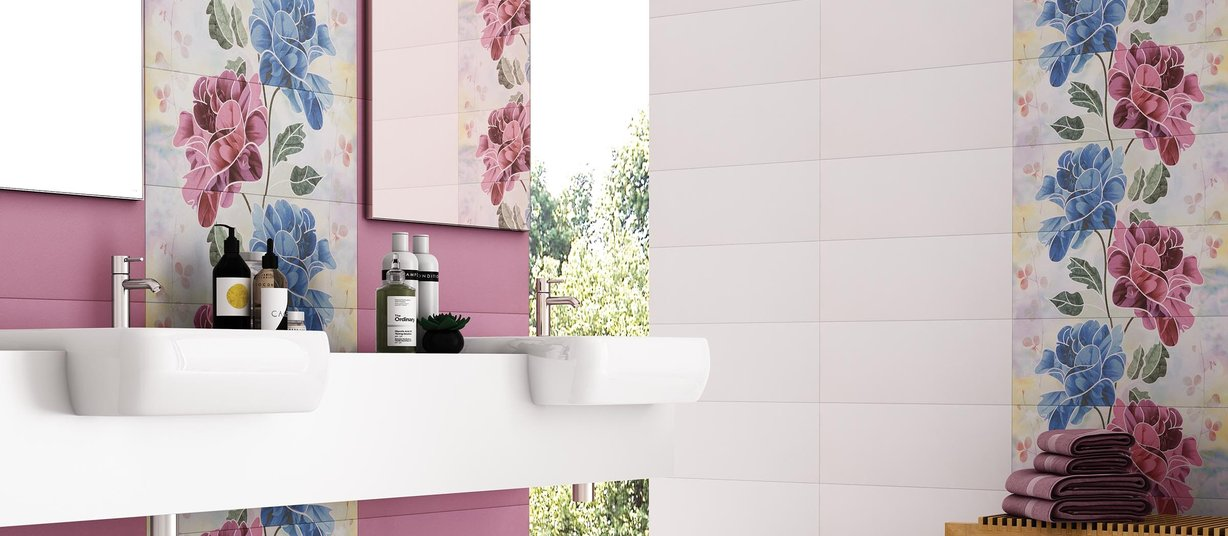 shire Mix and Pink tiles Modern style Bathroom