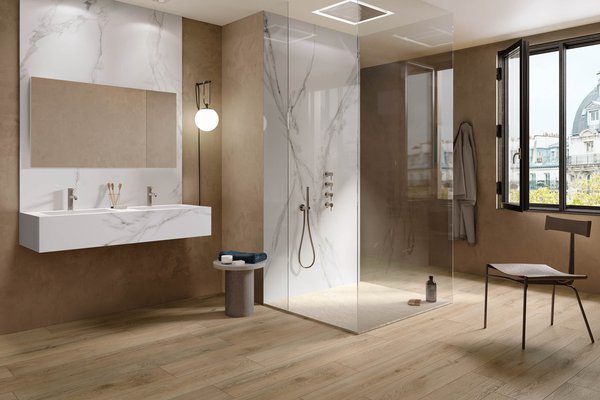 sigurt wood Brown tiles Modern style Bathroom