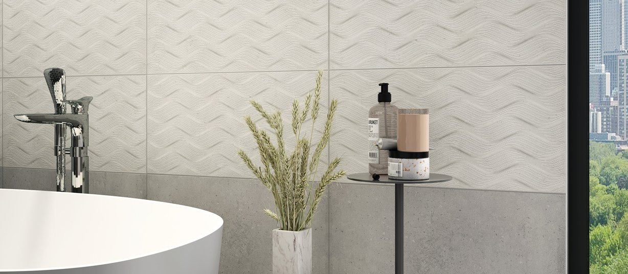 Stromboli Grey tiles Modern style Bathroom