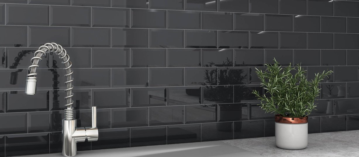 subway Black tiles Modern style Kitchen
