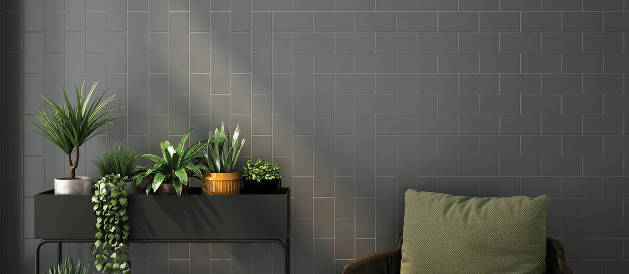 subway Grey tiles Modern style Living