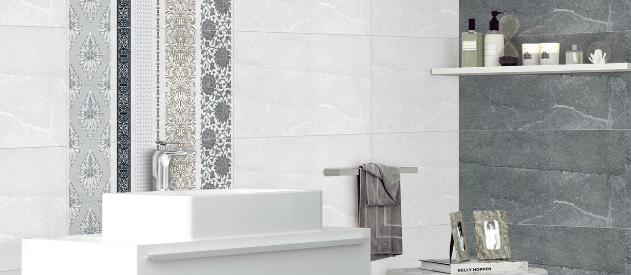 sunmist Grey, Mix and White tiles Modern style Bathroom