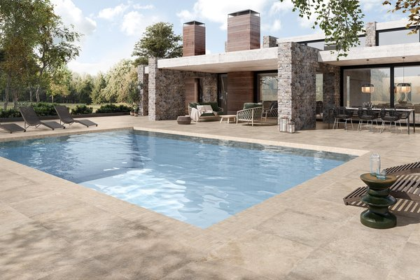 swimming pool Beige, Blu e Marrone piastrelle Moderno stile Wellness and Swimming Pools