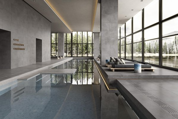 swimming pool Blu e Grigio piastrelle Moderno stile Wellness and Swimming Pools