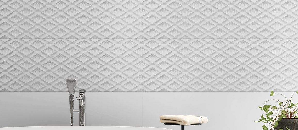 Tangram White tiles Modern style Bathroom