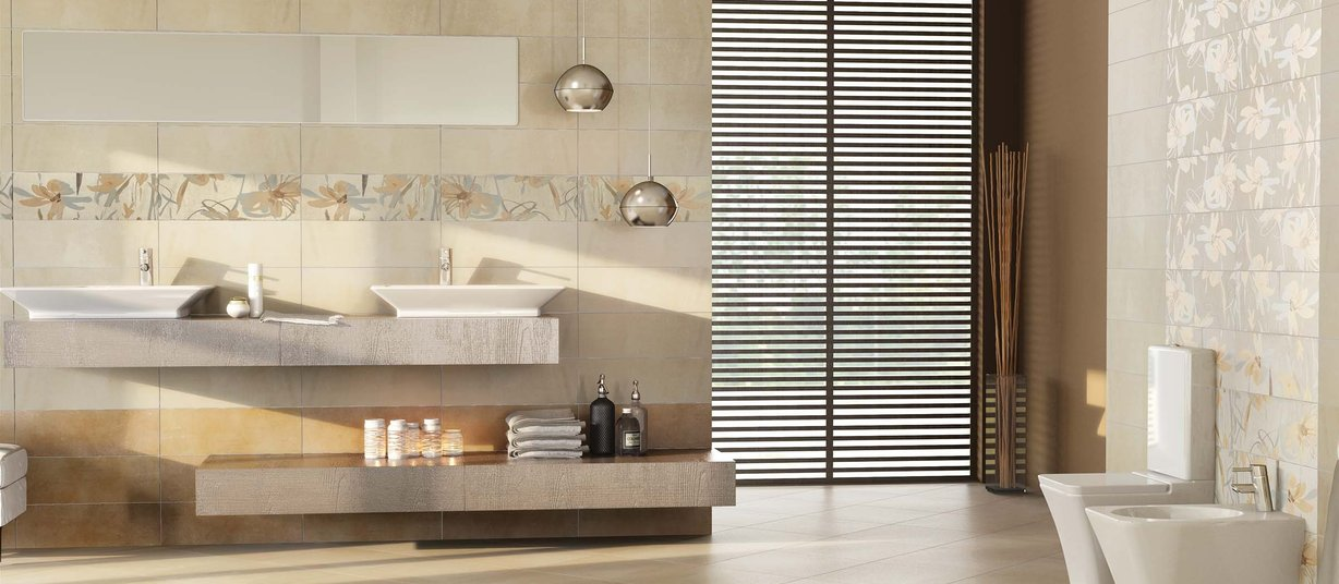 time Beige and Mix tiles Modern style Bathroom