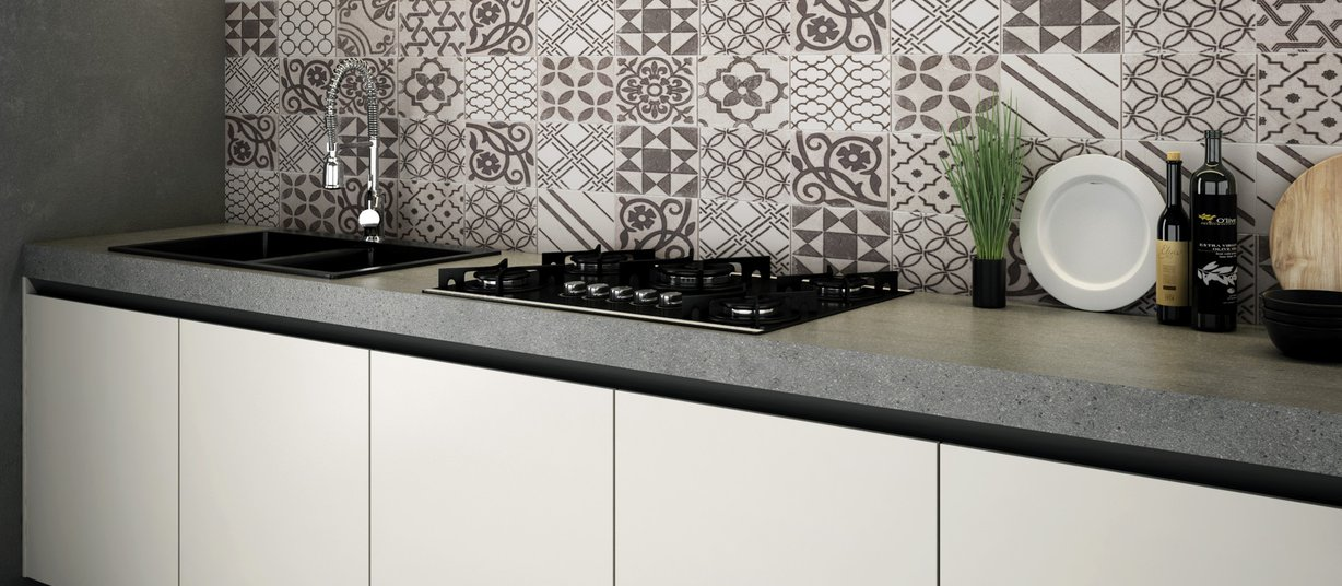 Trace concrete Grey tiles Modern style Kitchen