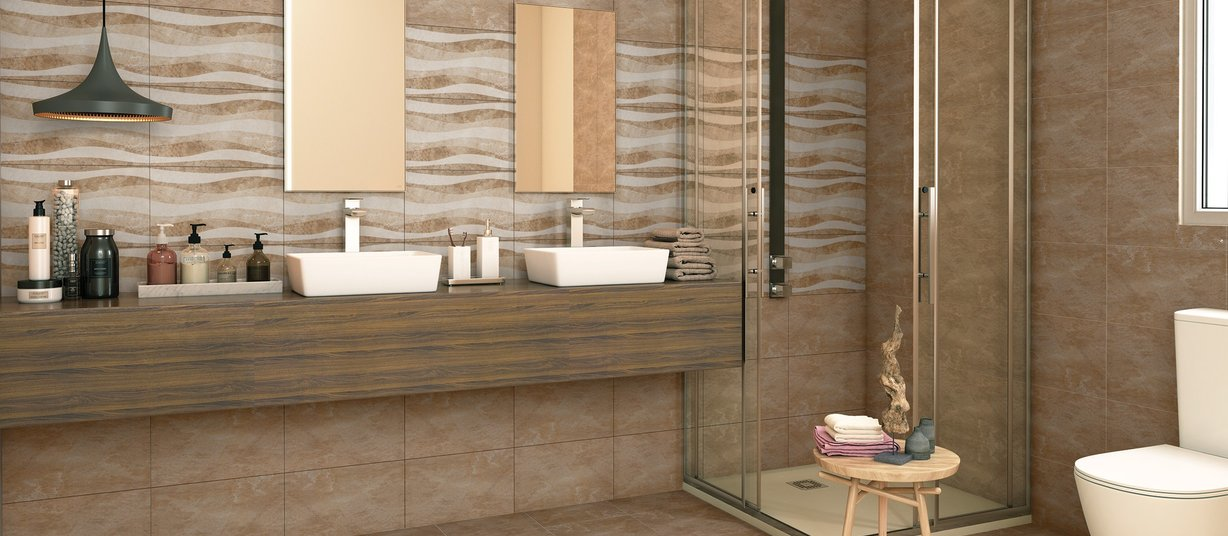 travia Beige tiles Modern style Bathroom