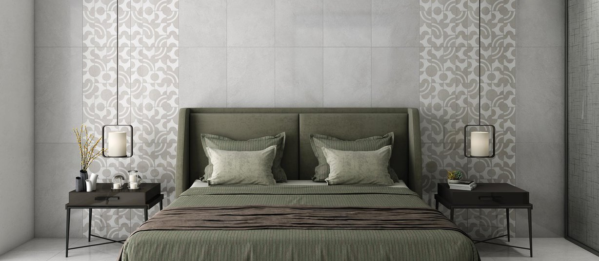 Twix bianco Grey and Mix tiles Modern style Living room Tiles