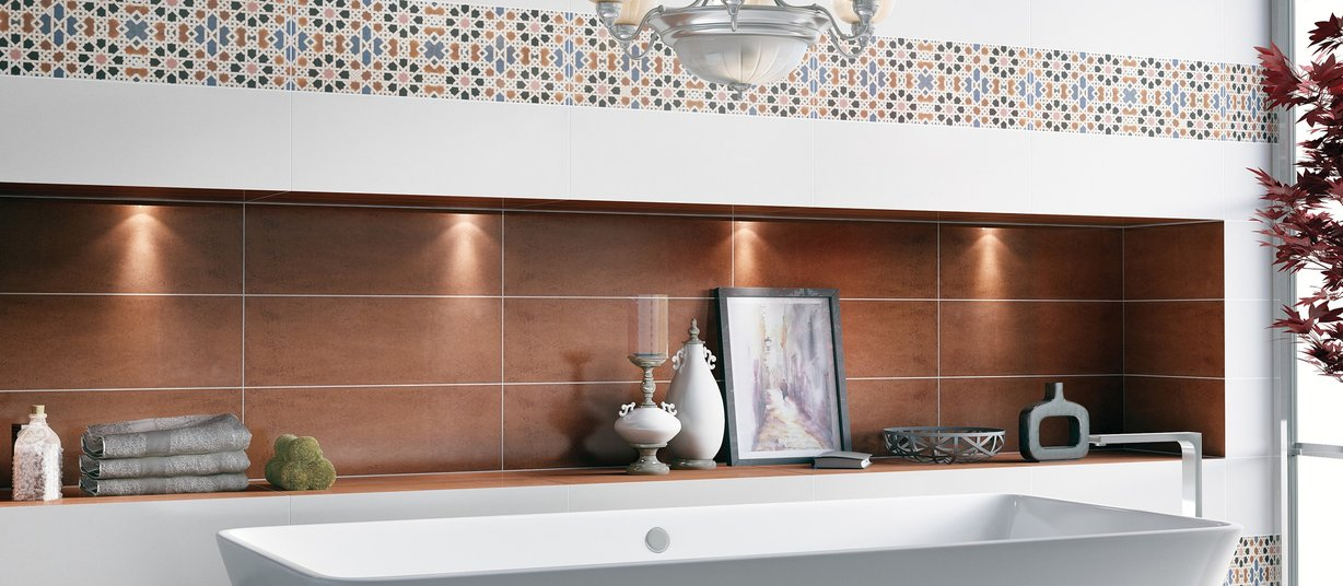 Vedanta Brown, Mix and White tiles Modern style Bathroom