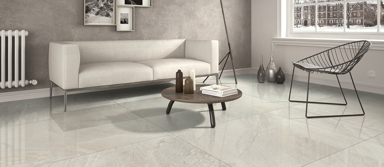 vermont Grey and Ivory tiles Modern style Living