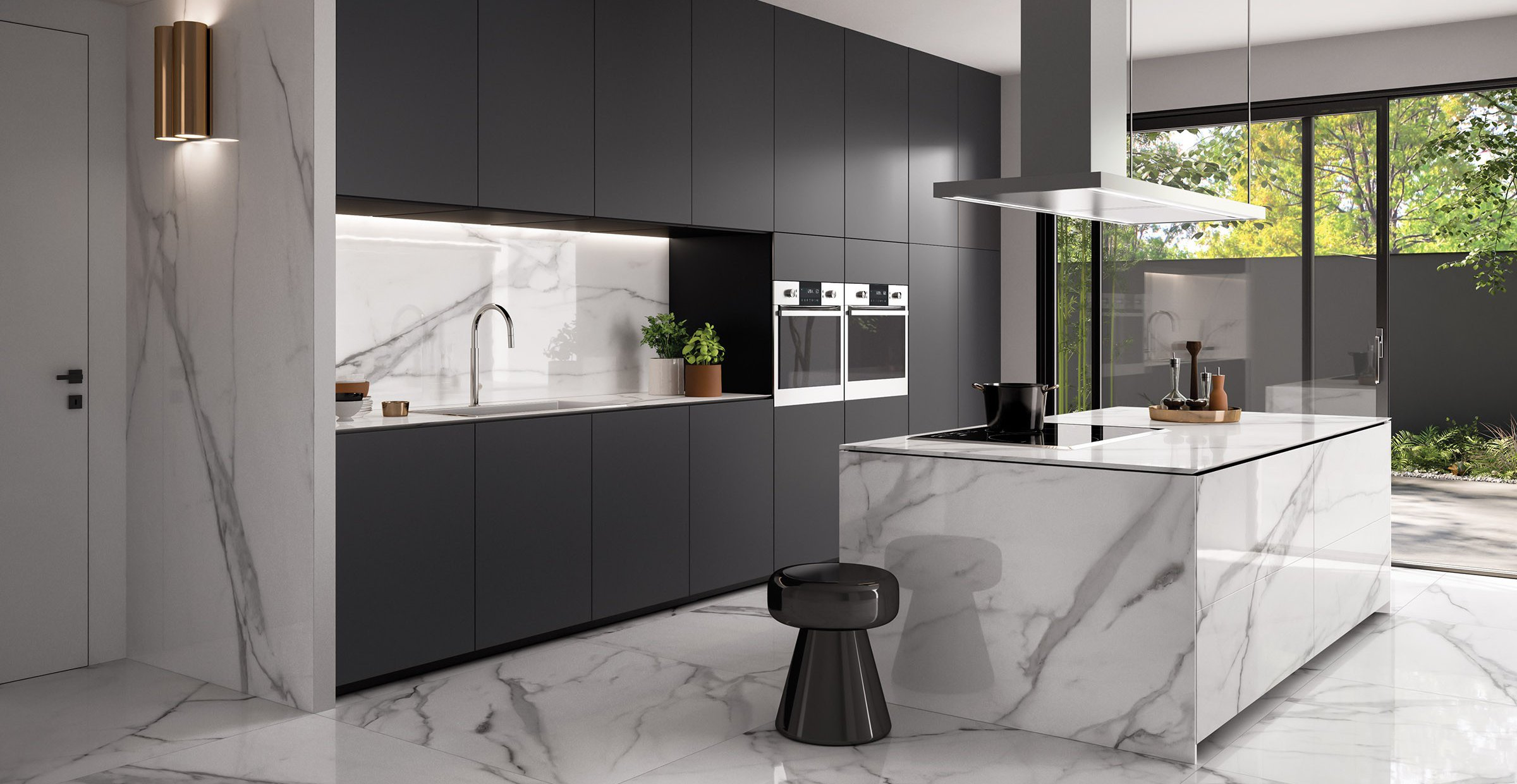 versilia marble White tiles Modern style Kitchen