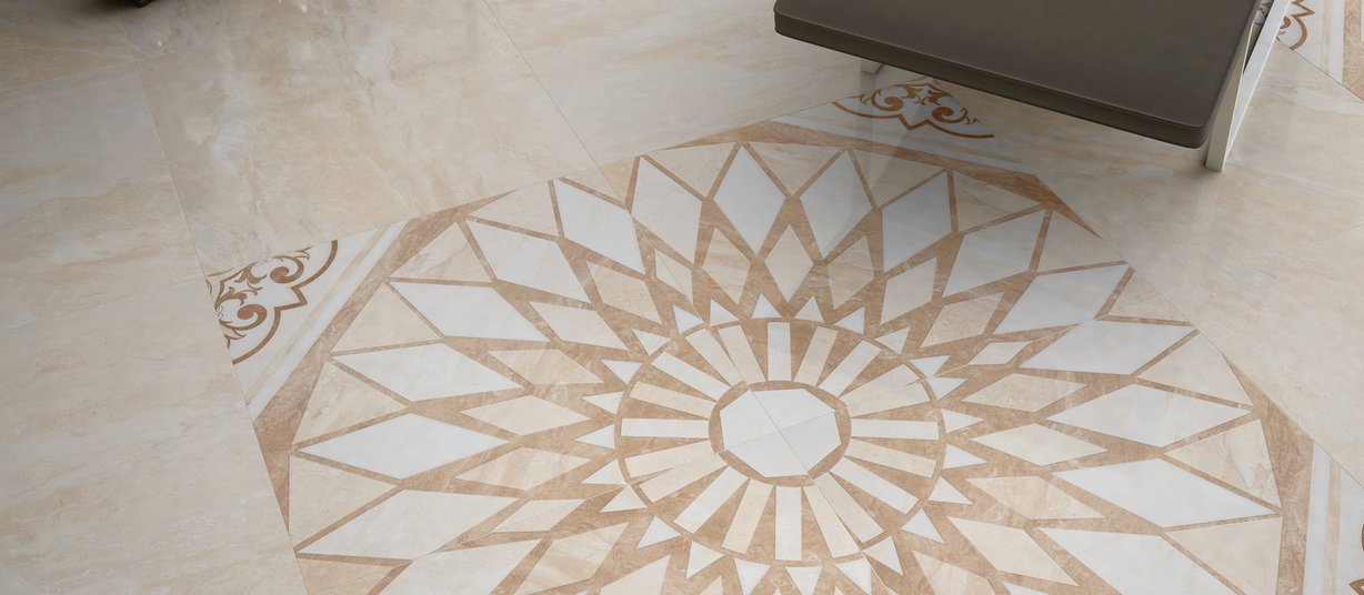 vietina Beige, Brown, Ivory and Mix tiles Modern style Living