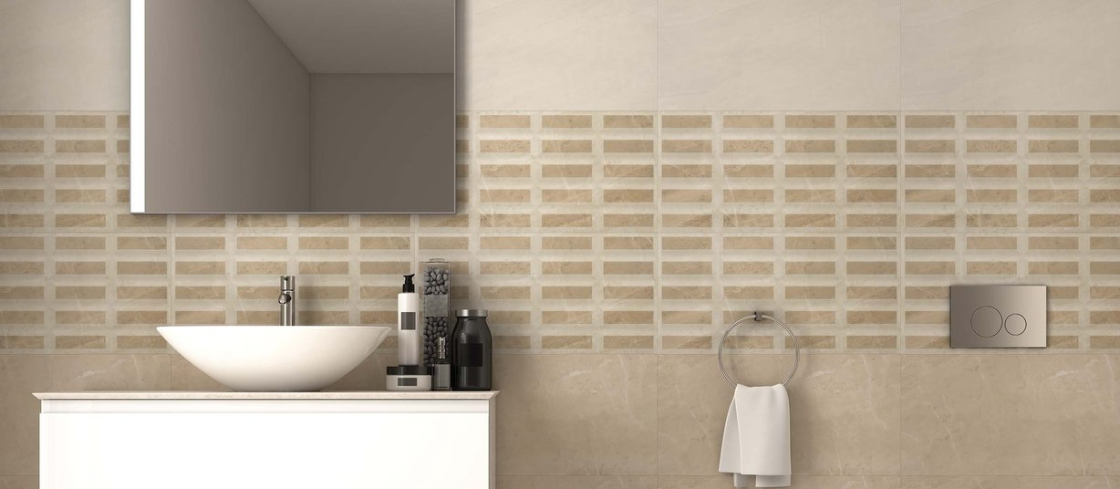 Volta Beige and Ivory tiles Modern style Bathroom