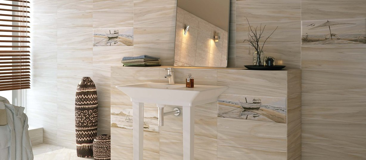 voyage Beige and Mix tiles Modern style Bathroom