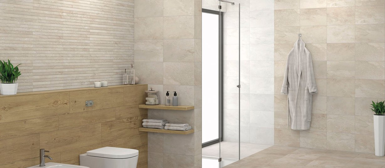 Warwick Beige and Mix tiles Modern style Bathroom