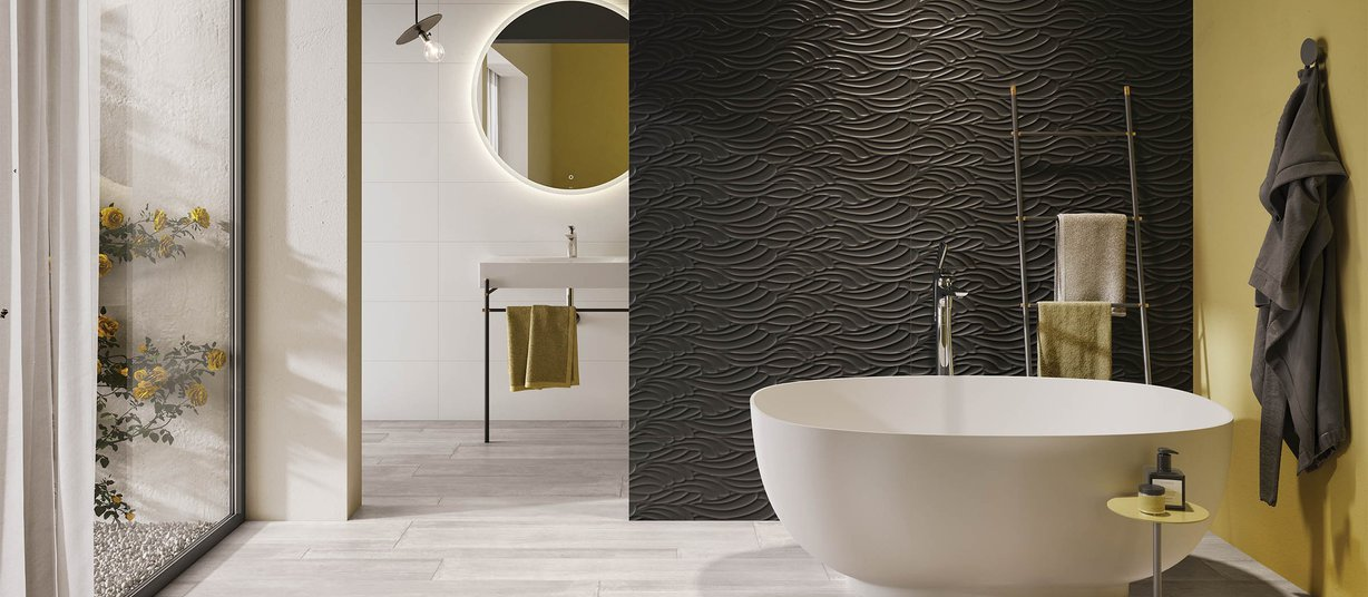 wave metal Grey and White tiles Modern style Bathroom