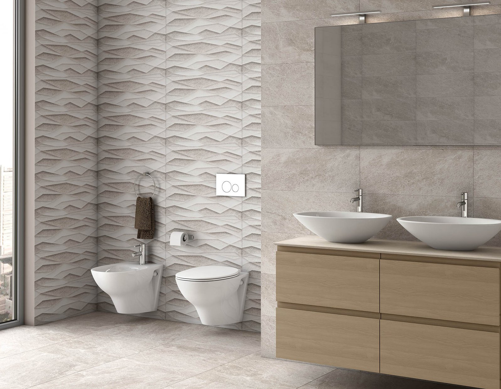 Xrock Grey tiles Modern style Bathroom