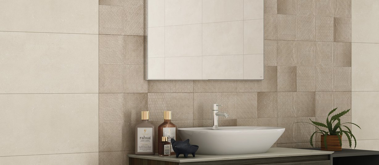Zeina Beige and Ivory tiles Modern style Bathroom