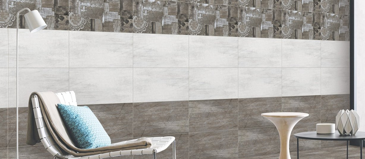 zinnia Brown, Mix and White tiles Modern style Living
